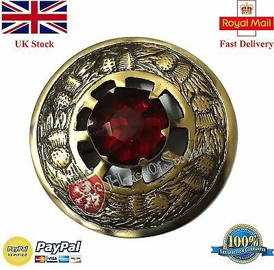 "New Scottish Kilt Fly Plaid Brooch Red Stone Antique Finish 3""/Thistle Emblem"