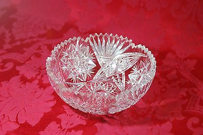 "Round American Brilliant Cut Crystal Glass Shallow Bowl 8"" x 3"" Saw Tooth Edge"