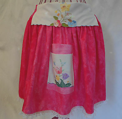 New Cotton Apron Womens Handmade FULLY LINED Pink Embroidered Flower Pocket Lace
