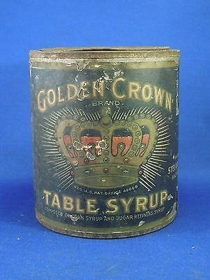 Vintage Golden Crown Brand Table Syrup Can Steuart Son & Co. Empty Tin Can
