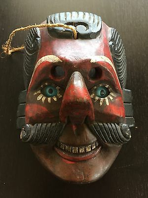 Vintage Antique Guatemalan Hand Carved Wooden Mask Painted Glass Eyes Dance