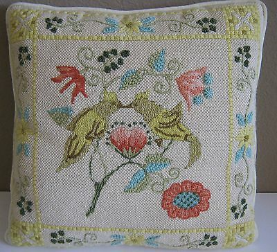 "Lovely Finished & Handstitched LOVE BIRDS Needlepoint Pillow 15""x15"" Yellow Back"