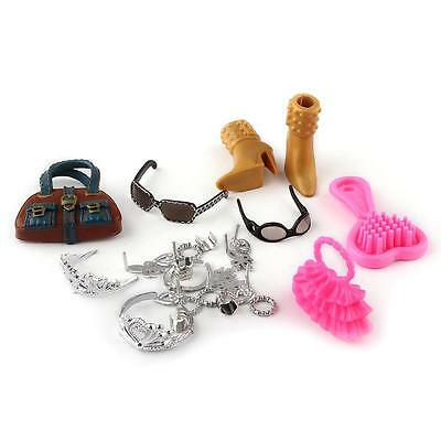 18Pcs Barbie Doll Bag Comb High Heels Necklace Hairpin Glasses