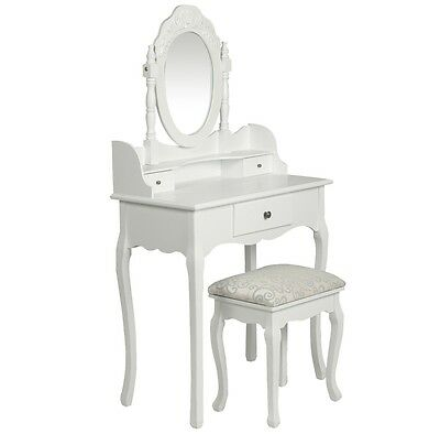 Luxury Dressing Table & Stool Mirror Jewellery Cabinet 3 Drawers Organiser Chest