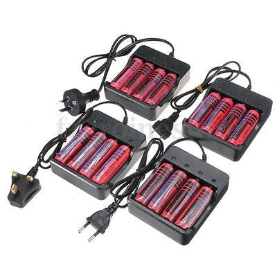 4 x Protected 18650 3800mAh Li-ion Rechargeable Battery + UK/EU/AU/US Charger