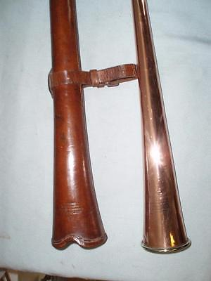 "ANTIQUE COACH/CARRIAGE COPPER HORN. By ""KOHLAR"" ORIGINAL LEATHER CASE"