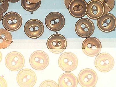 """Lot 50 Antiqued BRASS Metal set Vintage New Small buttons 1/2"""""""