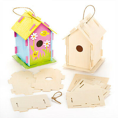 Wooden Birdhouse Kits for Children to Make, Paint & Decorate (Pack of 2)