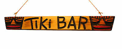 Original Carved Wood 2 Masked Tiki Head Bar Sign - Tribal Surf Shack Decor