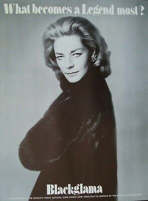 BLACKGLAMA LAUREN BACALL Vintage 1969 advertising poster MINK FUR COAT AVEDON NM