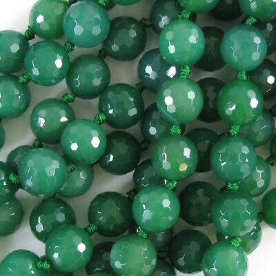 """12mm faceted green onyx round beads 6.5"""" strand"""
