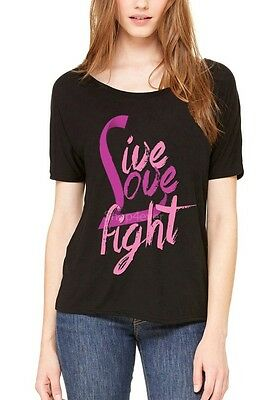 Live Love Fight Women/'s T-Shirt Pink Ribbon Breast Cancer Shirts