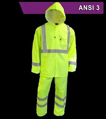 Reflective Apparel Waterproof Rain Suit Safety Gear High Vis VEA-402-ST ANSI 3