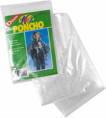 0242 Coghlan's Coghlans Lightweight Poncho Rain Coat with Hood Clear FOR KIDS!