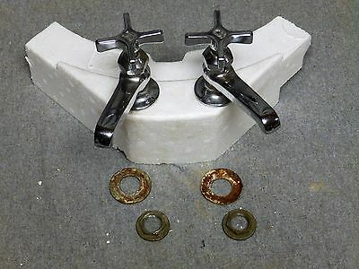 Vtg Pr Chrome Brass Separate Hot Cold Sink Faucets Old Speakman Plumbing 400-16