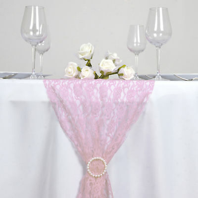 """PINK Floral Lace 14"""" x 108"""" TABLE RUNNER Wedding Party Catering Decorations"""