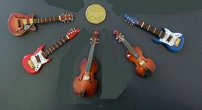 MINIATURE STRING INSTRUMENTS - Bass, Electric Acoustic Jazz Guitar New