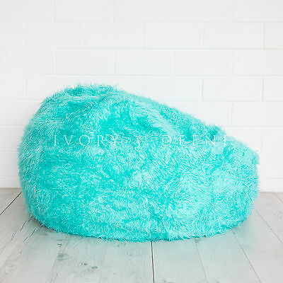 Fur Beanbag Cover Fairy Floss Turquoise Soft Bedroom Luxury Bean Bag Chair New