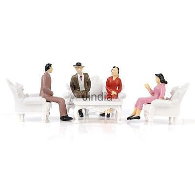 4pcs European Sofa with 4 Seated People Set Model Figure Scenery Layout 1:25