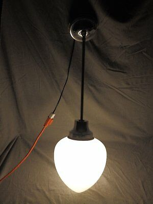Vtg Chrome Brass Pendant Light Art Deco Old Milk Glass Teardrop Globe 409-16