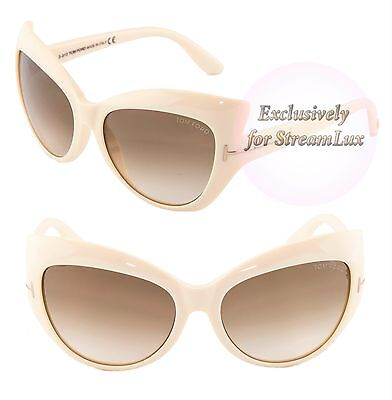 8fdf2ce07aef6 TOM FORD Sunglasses TF284 BARDOT 25F Butterfly Ivory Brown Gradient Lenses