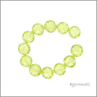 8 Cubic Zirconia Faceted Round Beads 6mm Peridot Green #64708