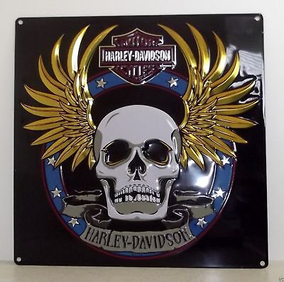 Harley Davidson Spade Skull Die Cut Embossed Tin Sign