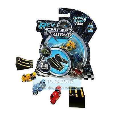 Rev Racerz Collectible Motorcycle Racing Toy Triple Stunt  Pack For Kids