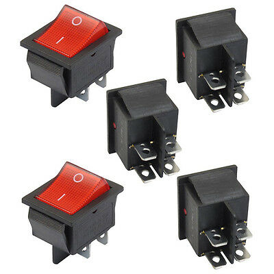 5 x Illuminated Light On/Off DPST Boat Rocker Switch 16A/250V 20A/125V AC  WW