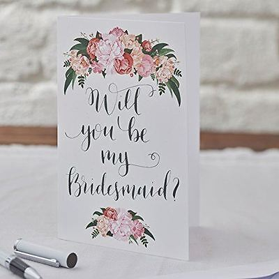 New Ginger Ray Floral Boho Will You Be My Bridesmaid Card Single x 1