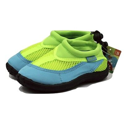 Trufit Kids' Swimshoes Back String and Toggle Blue/Green Size 12