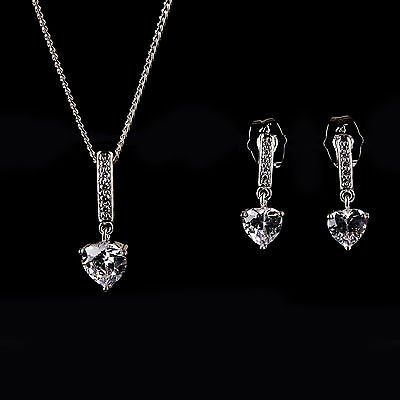 Fine Silver Plated Crystal Diamante Heart Bridal Wedding Necklace & Earring Set