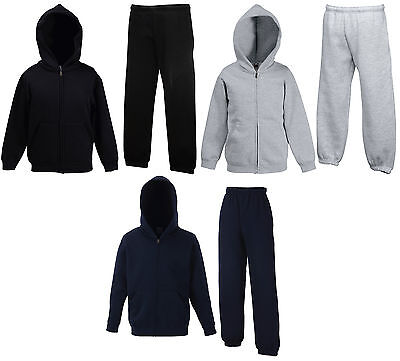 Fruit Of The Loom Kinder Jogginganzug Sportanzug Zip Versch. Farben 116-164 Neu