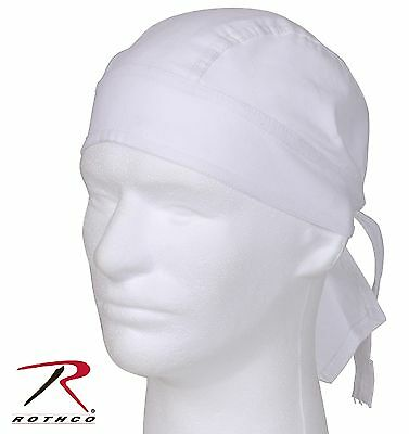 Rothco White 100% Cotton Headwrap - Adults Solid Color Do Rag Skully Cap