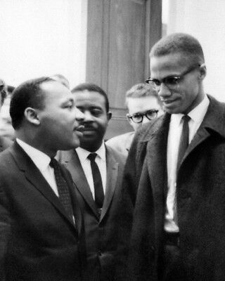 MARTIN LUTHER KING JR & MALCOLM X Glossy 8x10 Photo Historical Print Poster