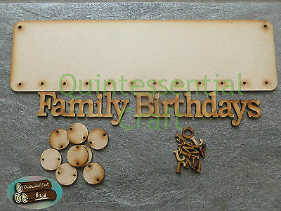 Birthday Calendar Dates Wooden Mdf Chart Hanging Plaque With Discs Craft Blank