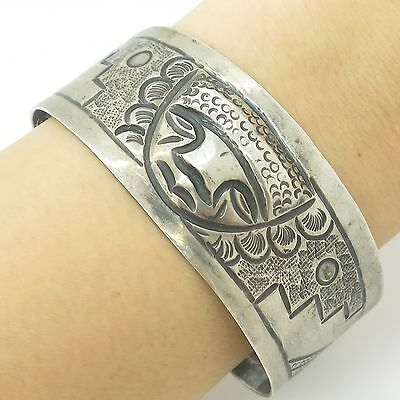 "Mexico 900 Silver Aztec Design Carved Wide Cuff Bracelet 7"" 28.2g"