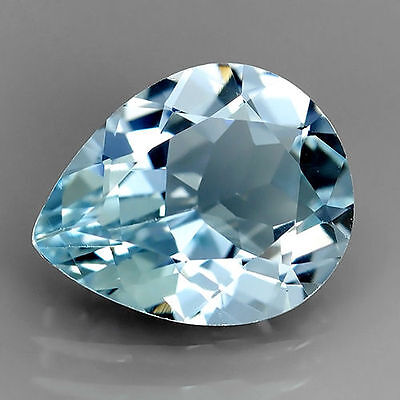 VERY RARE 7x5mm PEAR-FACET NATURAL AFRICAN AQUAMARINE GEMSTONE (APP £139)
