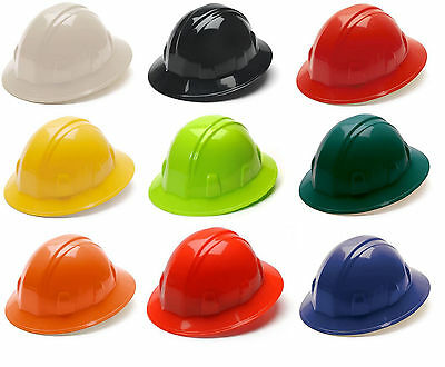 Pyramex Hard Hat Full Brim Cap 4 Point Ratchet Suspension Construction Safety