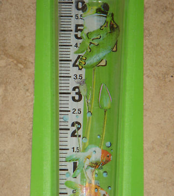 """Magnifying Rain Water Gage 6"""" Clear View Easy To Read In-Ground Or Post W/ Frogs"""