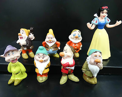 Lot of 8 Disney Snow White With Seven Dwarfs Cake Topper Figures loose