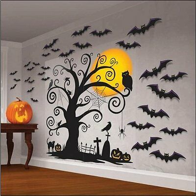 Halloween Spooky Cemetery Giant Wall Decorations - 32 pieces