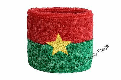 WRISTBAND Burkina Faso Flag SWEATBAND 7x8cm SET of 2 pcs