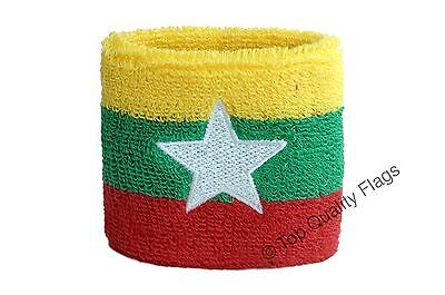 WRISTBAND Myanmar new Flag SWEATBAND 7x8cm SET of 2 pcs