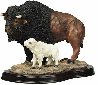 Buffalo w/ Baby Collectible Wildlife Figurine Sculpture Statue Model