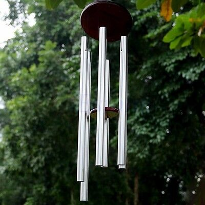 6 Silver Metal Tubes Wind Chime Windbells Relaxing Home Garden Decor Ornament