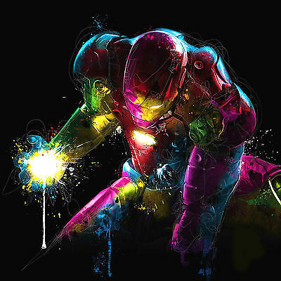 Iron Man Colourful Abstract WALL ART CANVAS FRAMED OR POSTER PRINT