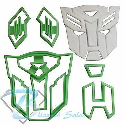Transformers Logo Cookie Fondant Cutter 5cm 7cm 10cm Set Birthday Cake