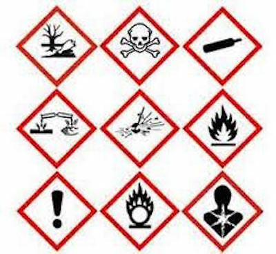 10 x Hazard warning labels / GHS Stickers Various Sizes 20mm, 30mm, 40mm, 50mm