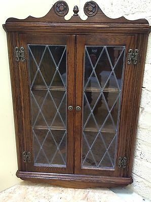 Oak Old Charm Leaded Glass Door Wall Hanging Corner Cabinet